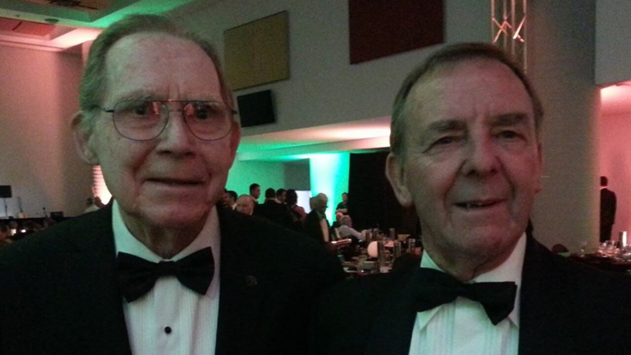Ron Lord (left - Olympic goalkeeper in 1956), and Ted (right) - Ted is wearing his Olympic pin. Credit: Ted Smith