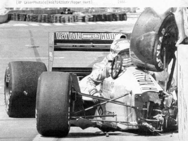 Ivan Capelli after crashing against the outer pit wall during practice for Detroit Grand Prix.