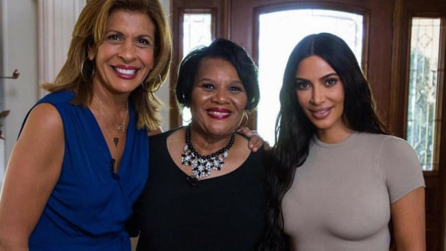 Kim Kardashian West with Alice Johnson (centre) after her release from prison. Photo: Instagram