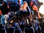 Lady Gaga crowd surfs during The 59th GRAMMY Awards at STAPLES Center on February 12, 2017 in Los Angeles, California. Picture: Getty