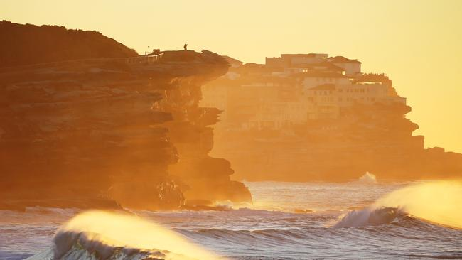 Sydney's Bronte shines on a very cool Monday morning. Picture: John Grainger.