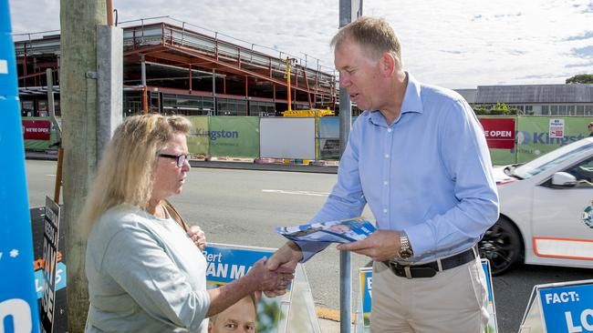 Forde Federal electorate candidate Bert Van Manen at the Beenleigh polling booth. Picture: Jerad Williams