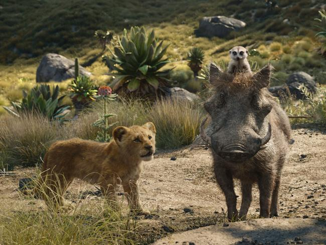 Young Simba, voiced by JD McCrary, Timon, voiced by Billy Eichner, and Pumbaa, voiced by Seth Rogen, in a scene from The Lion King.