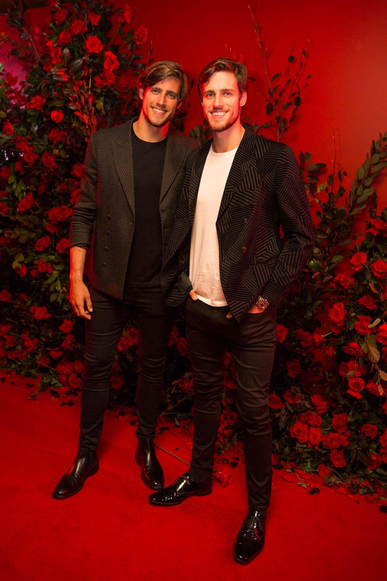 Jordan and Zac Stenmark attend the Giorgio Armani fragrance launch party. Image credit: Rocket K Weijers