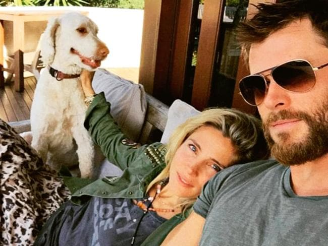 Chris Hemsworth at home in Byron Bay with wife Elsa Pataky. Picture: Instagram