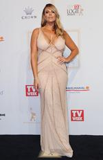 Fiona Falkiner arrives on the red carpet at the 59th annual TV Week Logie Awards on April 23, 2017 at the Crown Casino in Melbourne, Australia. Picture: AAP
