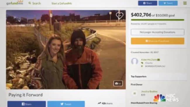 Kate McClure's GoFundMe campaign for Johnny Bobbitt raised more than $US400,000. Picture: GoFundMe Source: Supplied