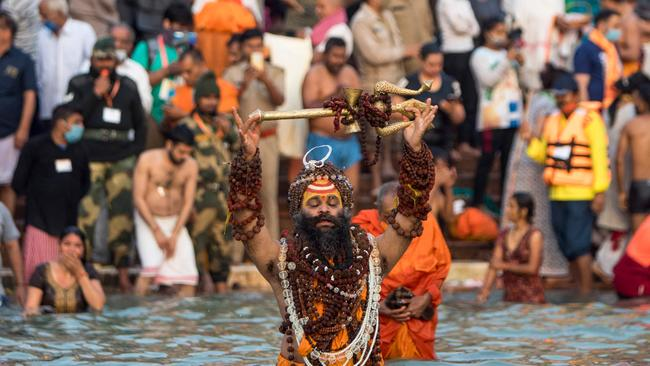 A Sadhu bathes in the Ganges river during the Kumbh Mela festival, in Haridwar on April 12. Picture: Xavier Galiana/AFP