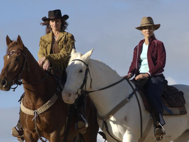 Fan favourite ... Bridie Carter with actor Simmone Jade Mackinnon in their McLeod's Daughters days. Picture: Supplied