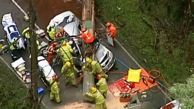 A family has been rushed to hospital after a tree fell on their car. Picture: 9 News/Channel 9