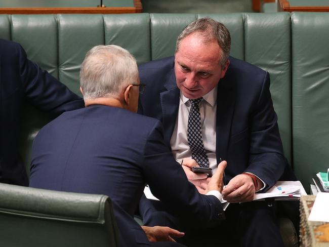 PM Malcolm Turnbull and Deputy PM Barnaby Joyce in Question Time in the House of Representatives Chamber at Parliament House in Canberra. Picture Kym Smith