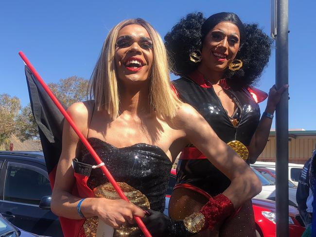 Indigenous drag queens Jojo Zaho and Felicia Foxx.