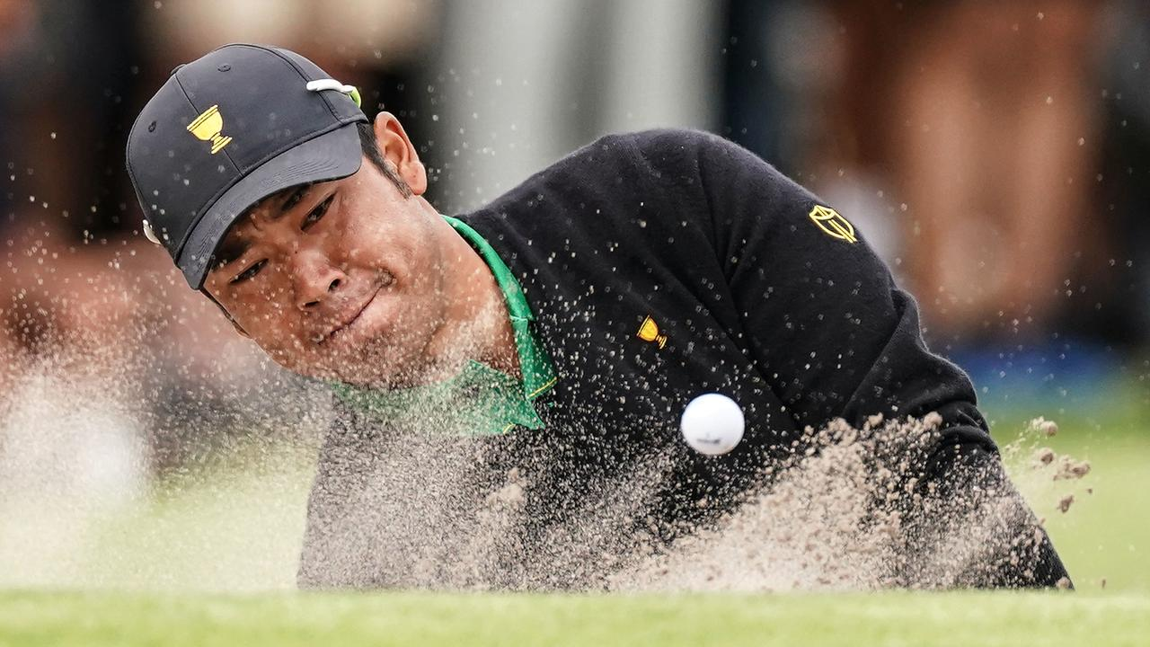 Hideki Matsuyama had a bad collapse on the final day of the Presidents Cup. (AAP Image/Scott Barbour)