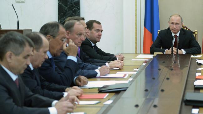 Vladimir Putin heads the Security Council in Moscow's Kremlin.