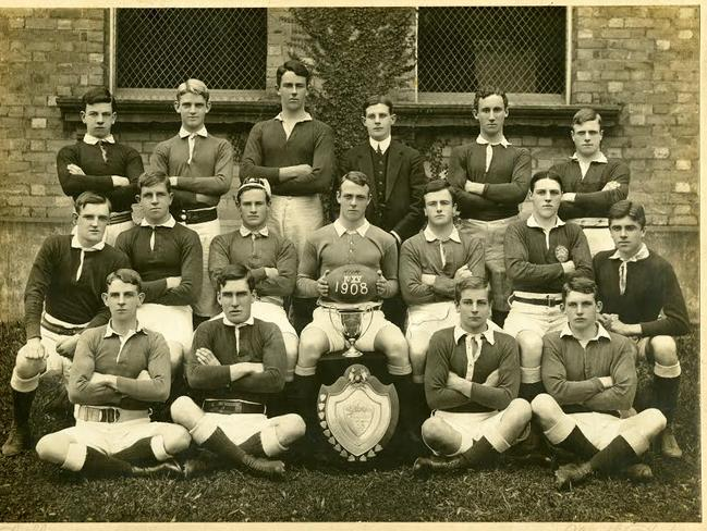 Sad loss ... the Shore football team of 1908. Brian Pockley, the captain, is centre while his brother John is last on the right in the back row.