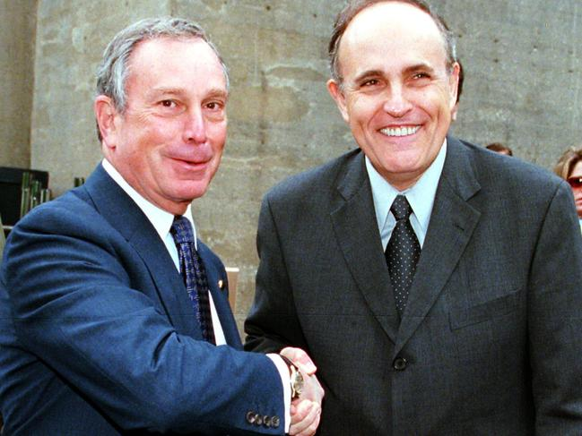 Michael Bloomberg and fellow NYC mayor and now-Trump lawyer Rudy Giuliani were once on the same side of politics. Picture: Supplied