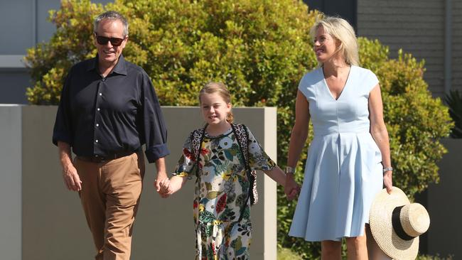 Federal Labor Opposition Leader Bill Shorten with wife Chloe and daughter Clementine. Picture: Lyndon Mechielsen/The Australian