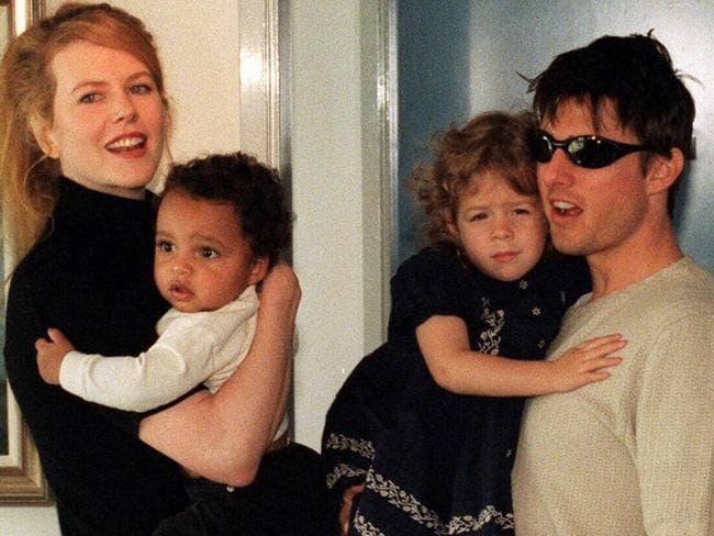 Nicole Kidman with Tom Cruise and their children Connor and Isabella in 1996. Picture: Supplied