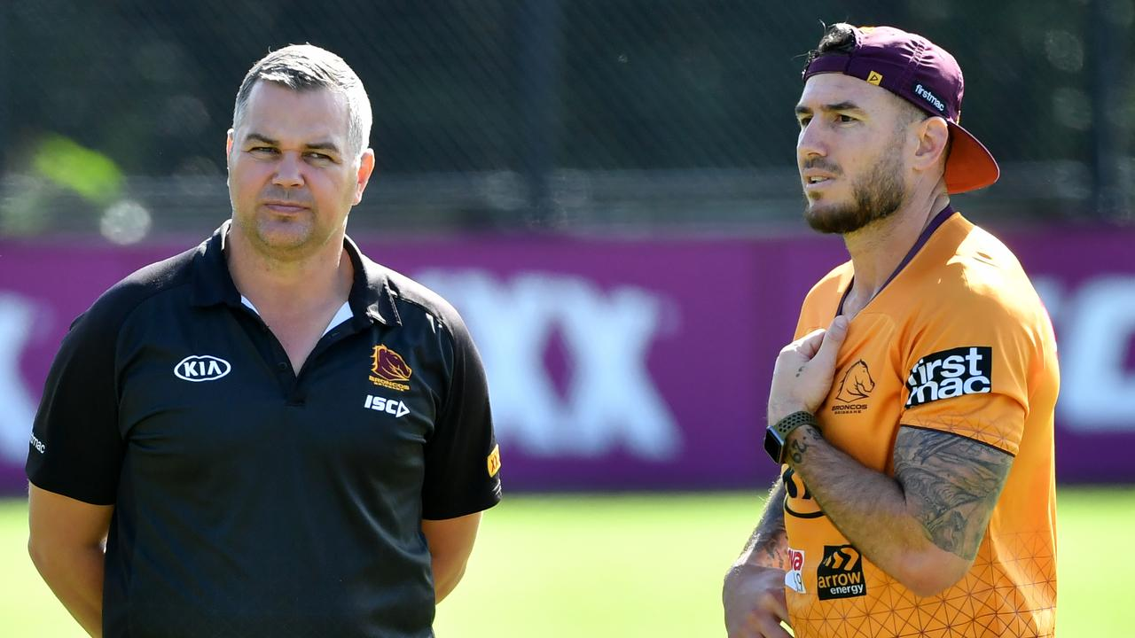 Broncos coach Anthony Seibold and Darius Boyd.