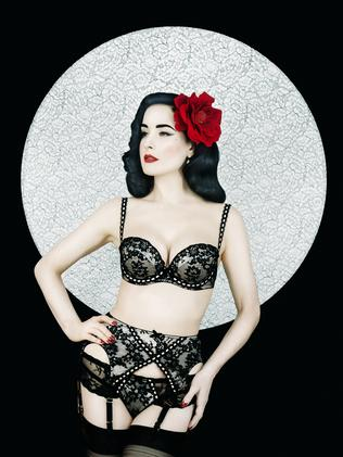Striking ... Dita Von Teese models her new colection. Picture: Erik Madigan Heck