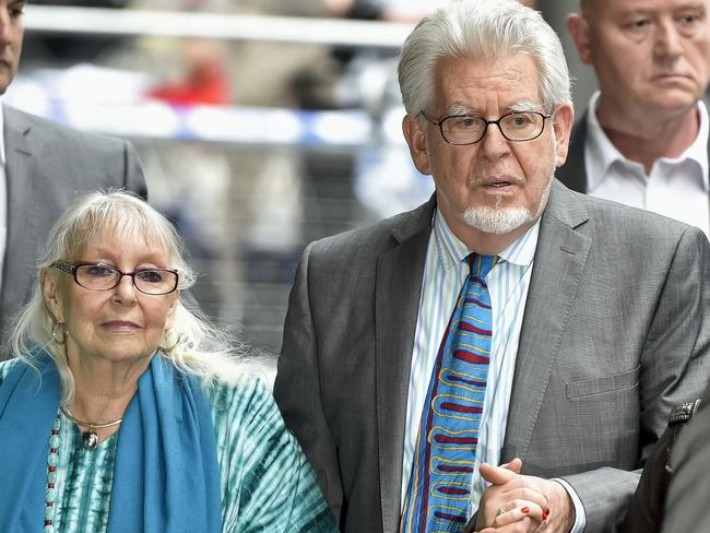 Found guilty ... Rolf Harris and his wife Alwen Hughes at Southwark Crown Court in central London. Picture: Niklas Hallen
