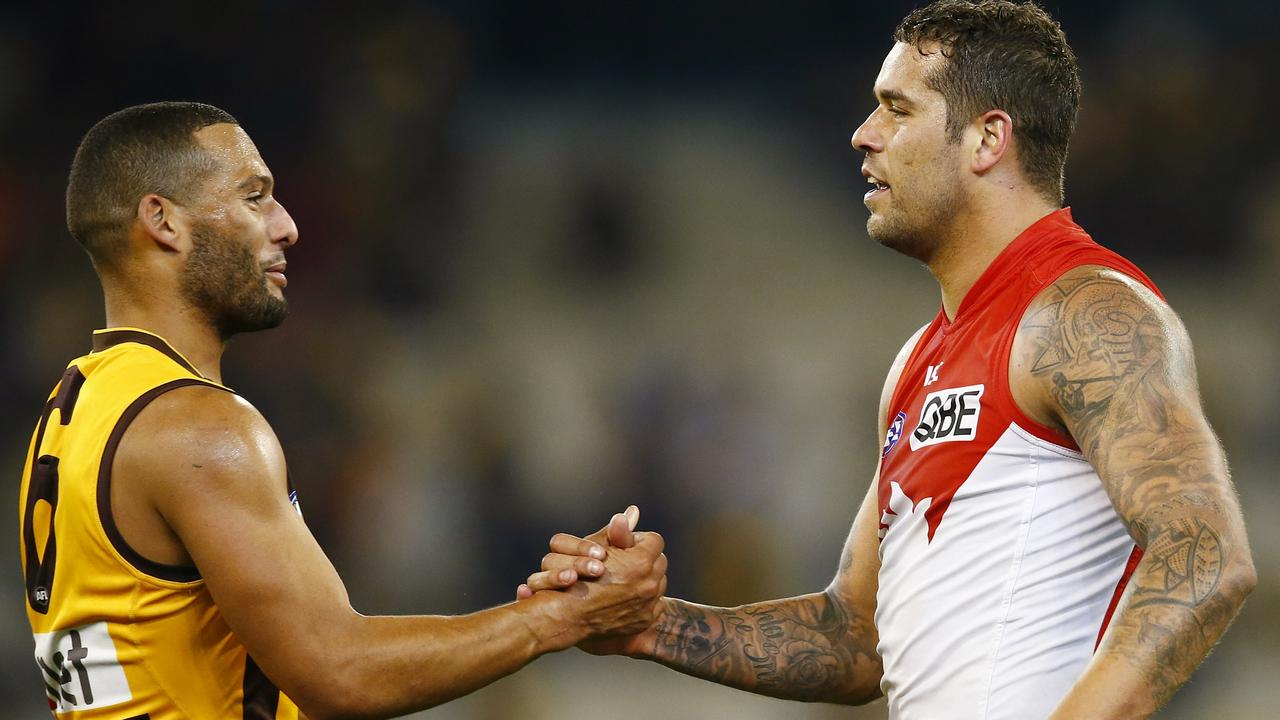 Josh Gibson and Lance Franklin. Photo: Michael Klein