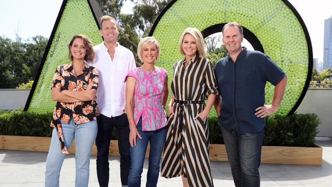 Today show line-up: Brooke Boney, Tom Steinfort, Deb Knight, Georgie Gardner and Tony Jones. Picture: Alex Coppel