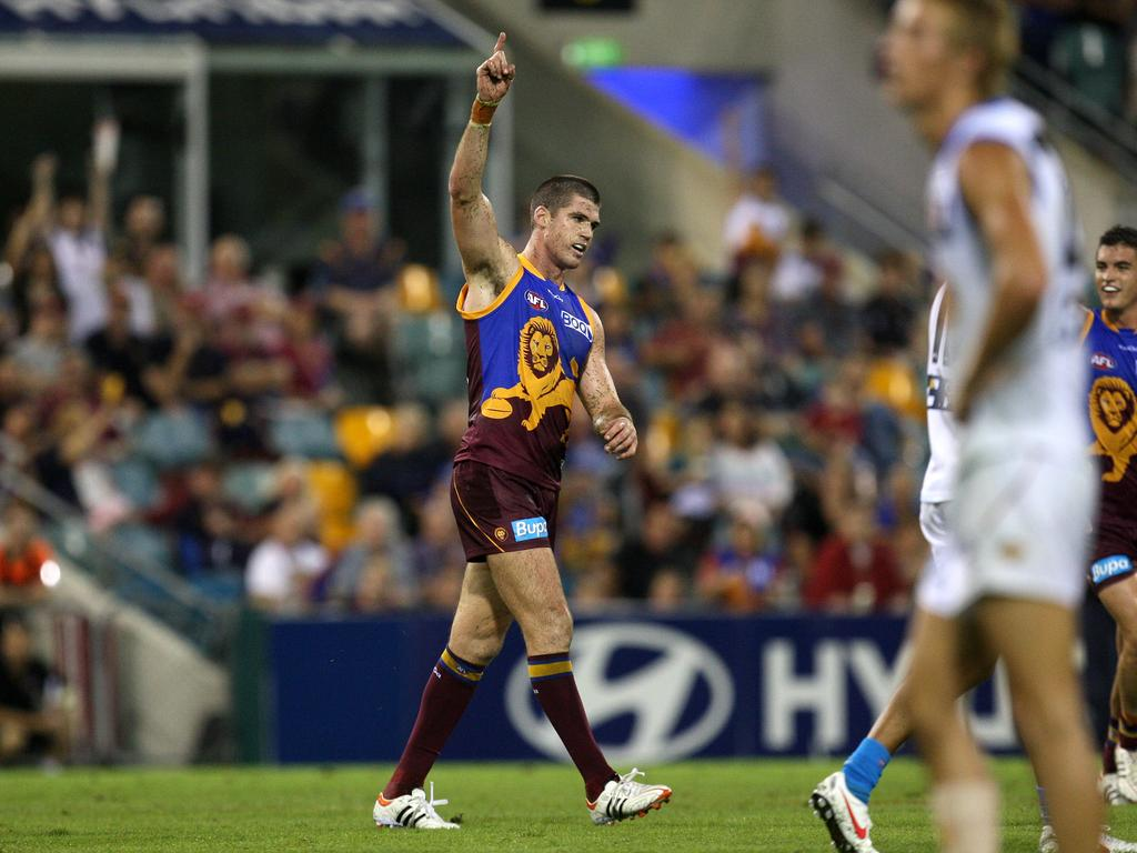 Jonathan Brown was renowned for this trademark goal celebration. Picture: David Kapernick