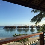 """""""First morning in paradise at Hilton Moorea Lagoon Resort and Spa admiring the view before we head out for a little paddle boarding."""" Picture: Instagram"""