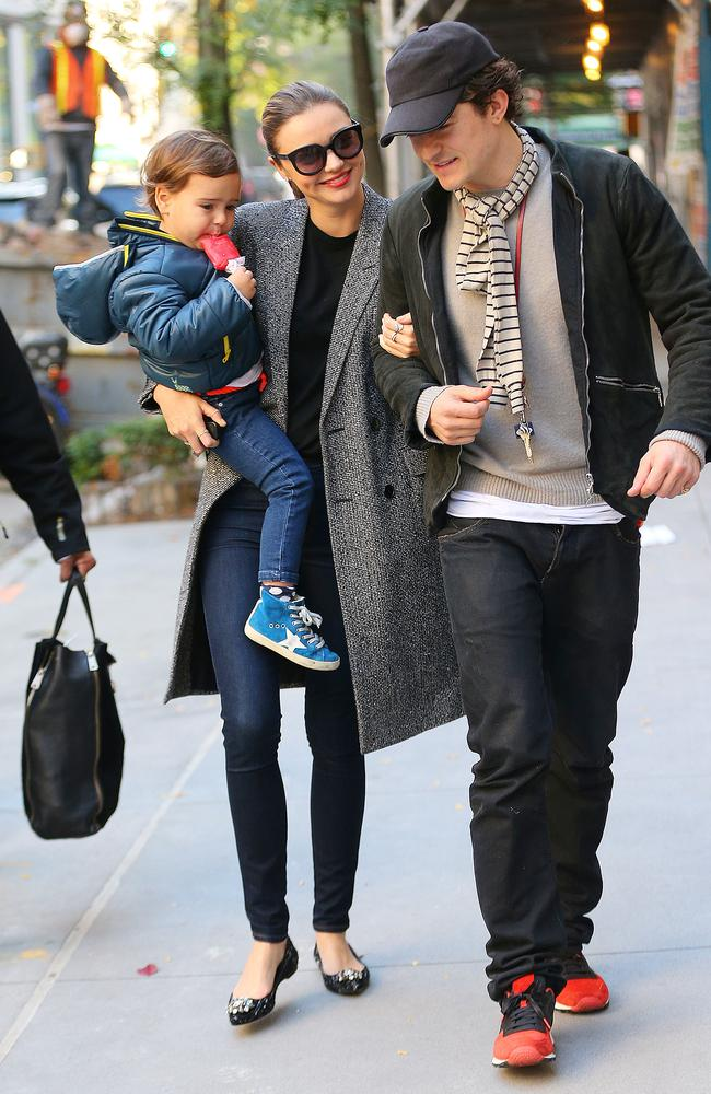Miranda Kerr and Orlando Bloom with their son Flynn. Picture: Jackson Lee/Splash News