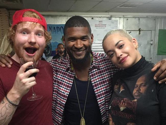 Ed Sheeran and Rita Ora hang out with Usher. Picture: Instagram
