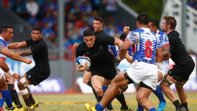 Sonny Bill Williams of the All Blacks attacks against Samoa at Apia Stadium in 2015.