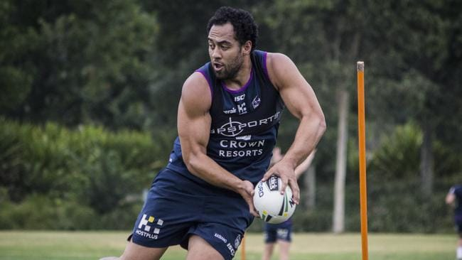Melbourne Storm recruit Sam Kasiano at training. Picture: Jonathan Demos