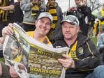 Tiger Fans line up outside the gates at Punt Oval in great spirits .Picture: Sarah Matray