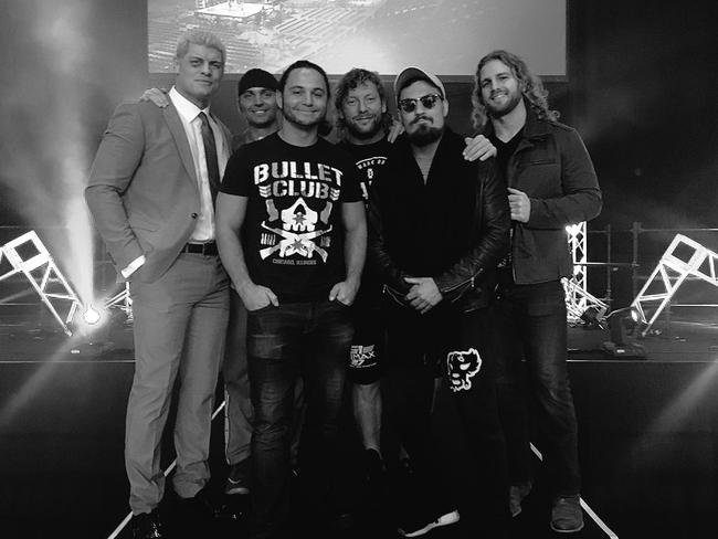 Rhodes with the other members of Bullet Club — Nick and Matt Jackson (the Young Bucks), Kenny Omega, Marty Scurll and Hangman Page.
