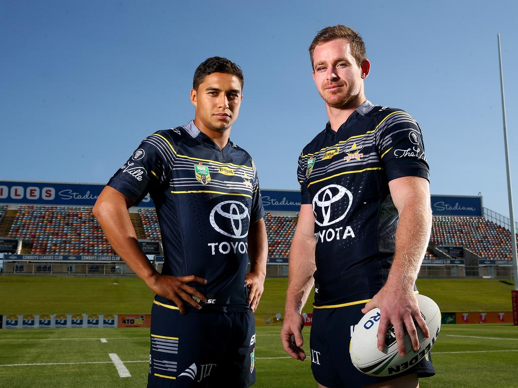 Te Maire Martin and Michael Morgan at the North Queensland Cowboys media day at 1300 Smiles Stadium in Townsville. Pics Adam Head