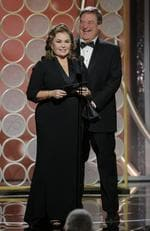 Roseanne Bar and, John Goodman speak onstage during the 75th Annual Golden Globe Awards at The Beverly Hilton Hotel on January 7, 2018 in Beverly Hills, California. Picture: Getty