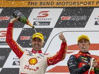 Fabian Coulthard wins race 1 of the Repco SuperSprint The Bend. Event 9 of the Virgin Australia Supercars Championship, Tailem Bend, Australia. 19-20 Sep 2020.
