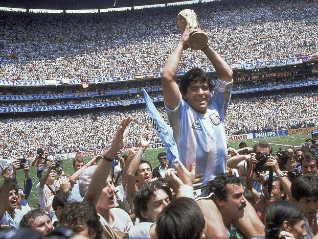 Maradona would go on to lead Argentina to victory over Germany in the final. Pic: AP