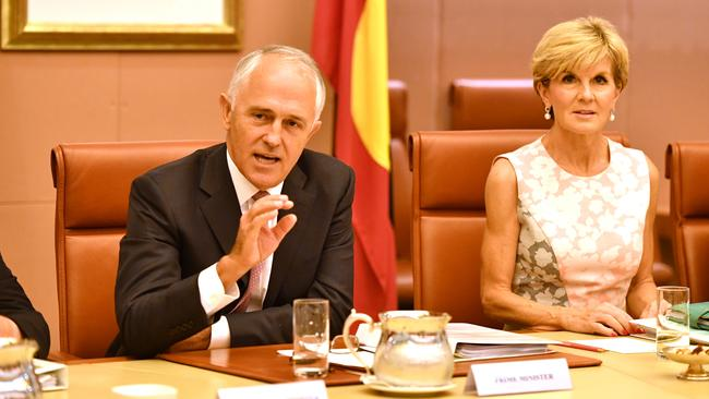 Prime Minister Malcolm Turnbull and Minister for Foreign Affairs Julie Bishop. Picture: AAP