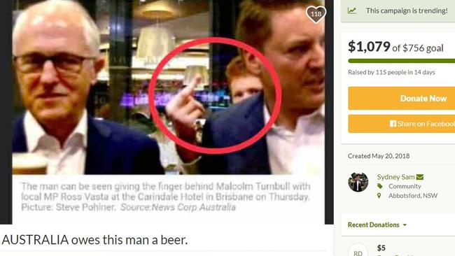 Online petition on Go Fund Me asking to donate to man who abused PM. Notice the creator to the right.