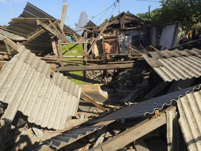 Houses damaged by the deadly earthquake in North Lombok, Indonesia. Picture: AP