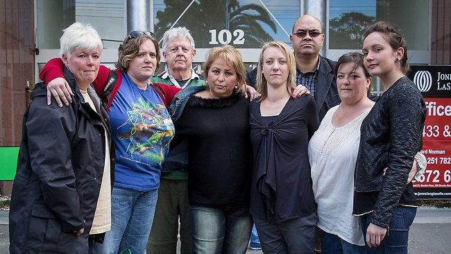 NLC employees (left to right) Christine O'Donnell, Bronwyn Powell, Russell Doney, Mehpare Tufan, Tracey Gray, Barry Muaror, Christine Casey and Kate Byrne were made redundant today. Picture: Jake Nowakowski