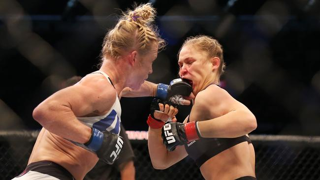 A huge crowd watched Holly Holm (left) beat Ronda Rousey in Melbourne in 2015. Picture: Getty Images