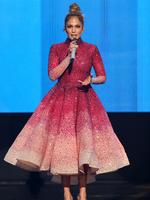 Jennifer Lopez speaks at the American Music Awards in Los Angeles. Picture: AP