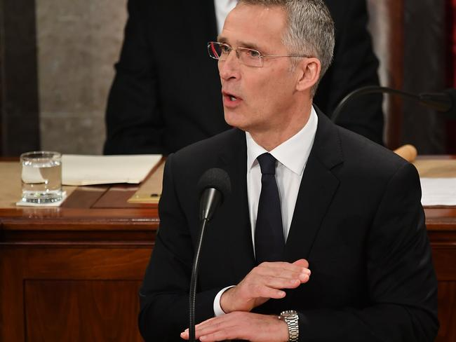 NATO secretary-general Jens Stoltenberg addresses a joint meeting of Congress in the House Chamber of the US Capitol in Washington, DC on April 3, 2019.