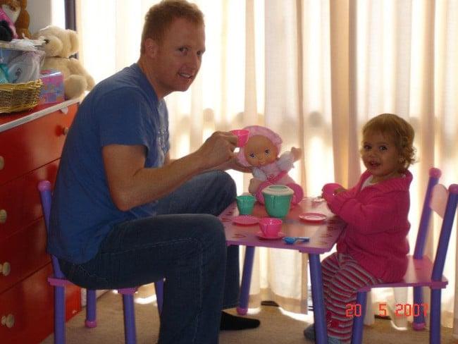 John Lean, with his then-toddler daughter Naomi.