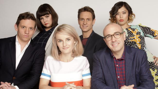 The Checkout team, including Morrow (front right).