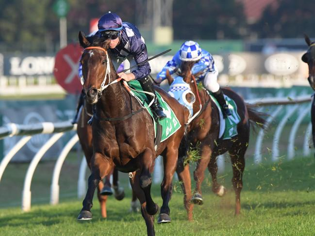 Jockey Tommy Berry rides Desert Lord to victory in the So You Think Hall Of Fame Handicap. Picture: AAP