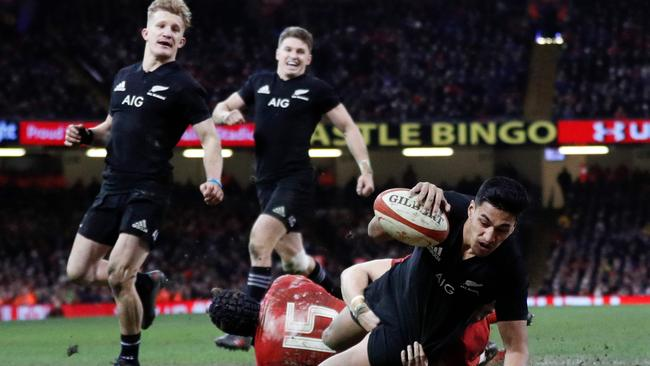New Zealand winger Rieko Ioane scores a try at the Principality Stadium in Cardiff.